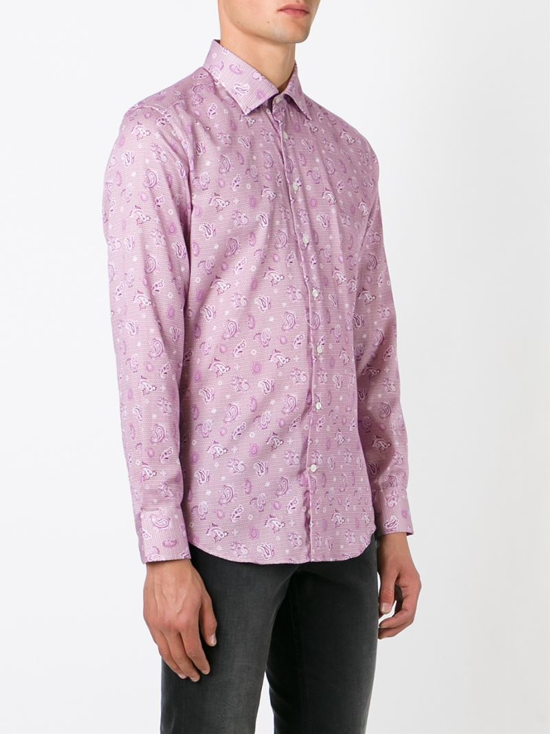Lyst etro paisley print shirt in pink for men for Etro men s shirts