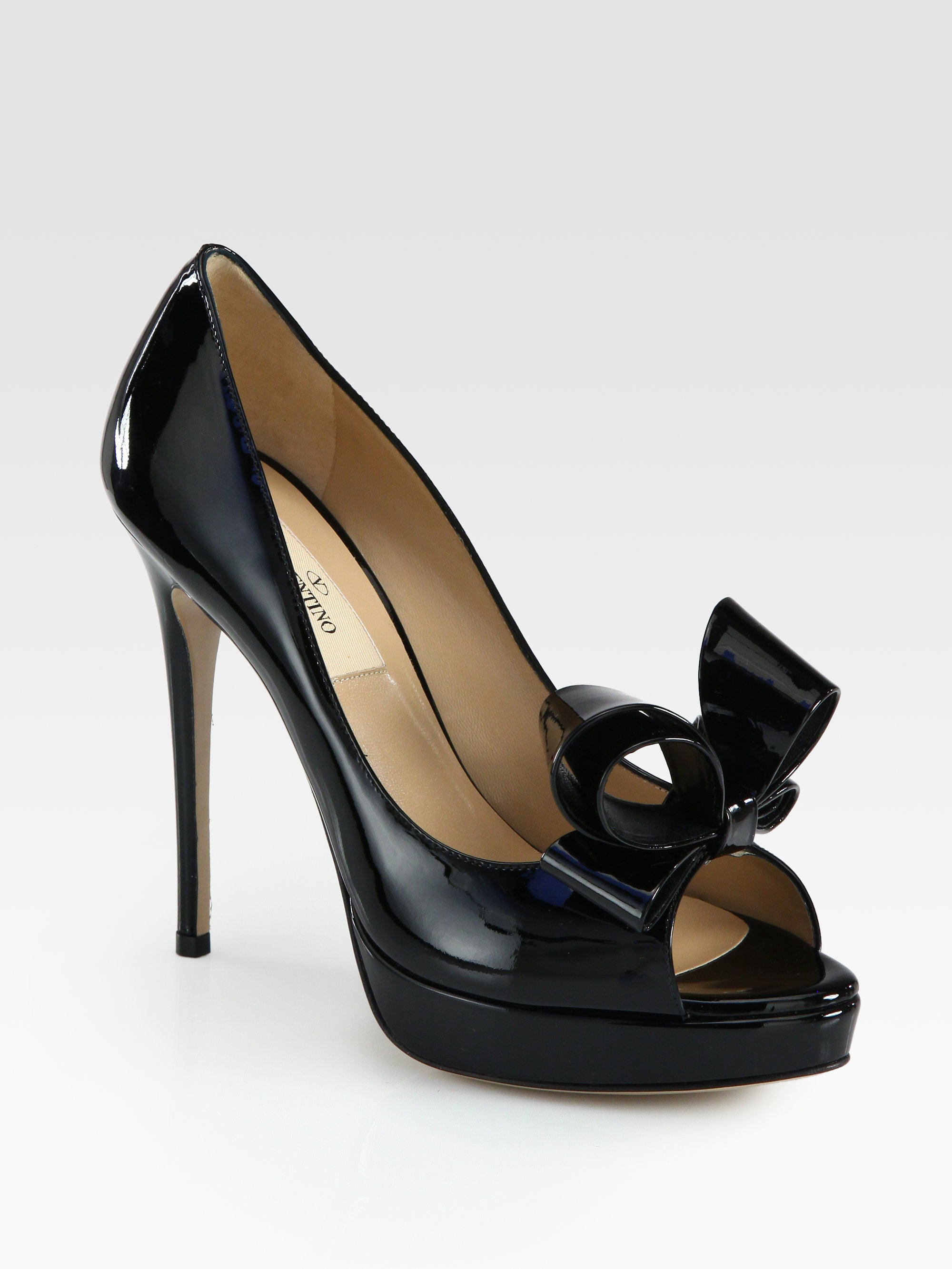 Valentino Couture Patent Leather Bow Platform Pumps In