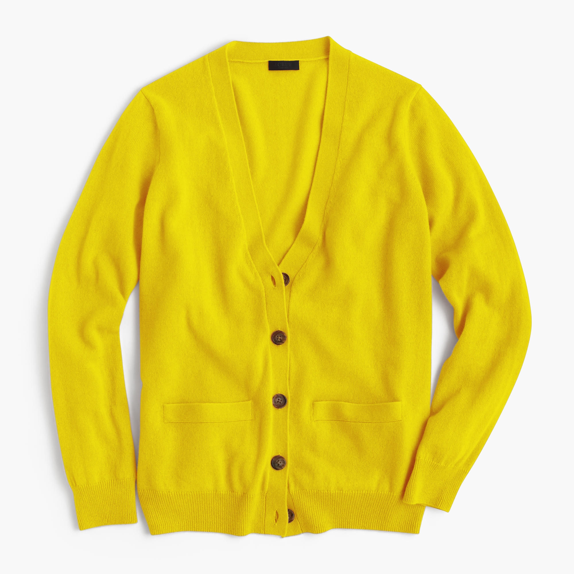J.crew Italian Cashmere Boyfriend Cardigan Sweater in Yellow   Lyst