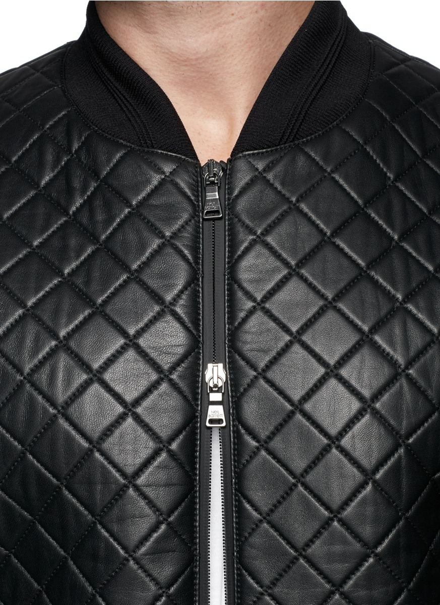 Neil barrett Quilted Leather Bomber Jacket in Black for Men | Lyst