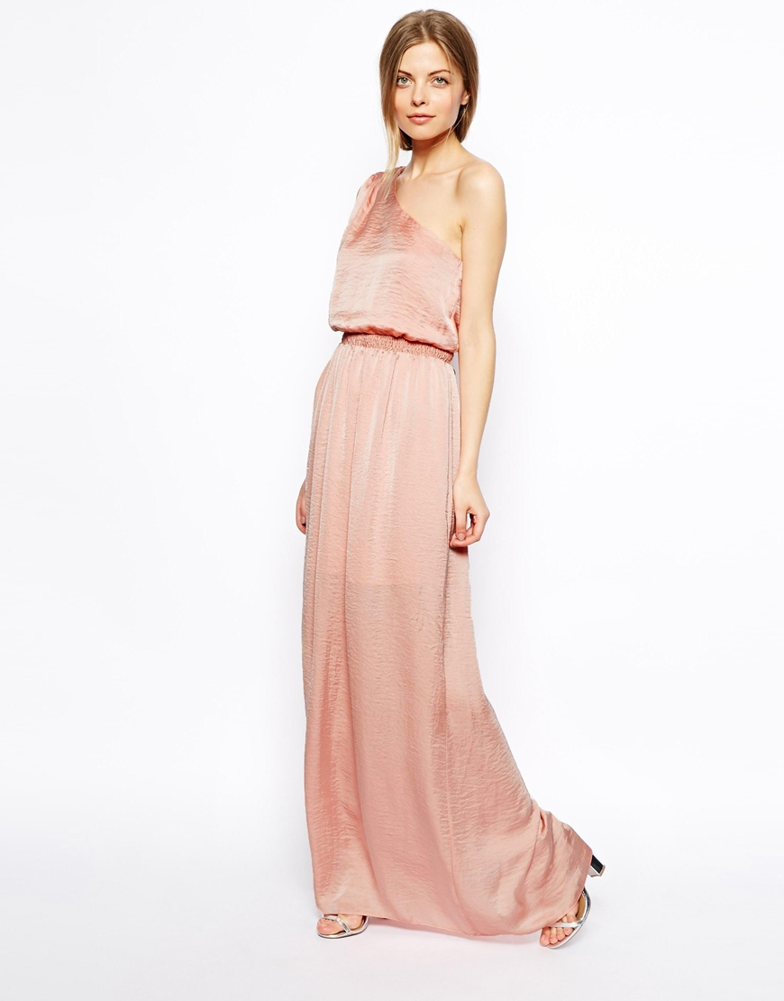 Asos Maxi Dress With One Shoulder In Satin In Pink Lyst