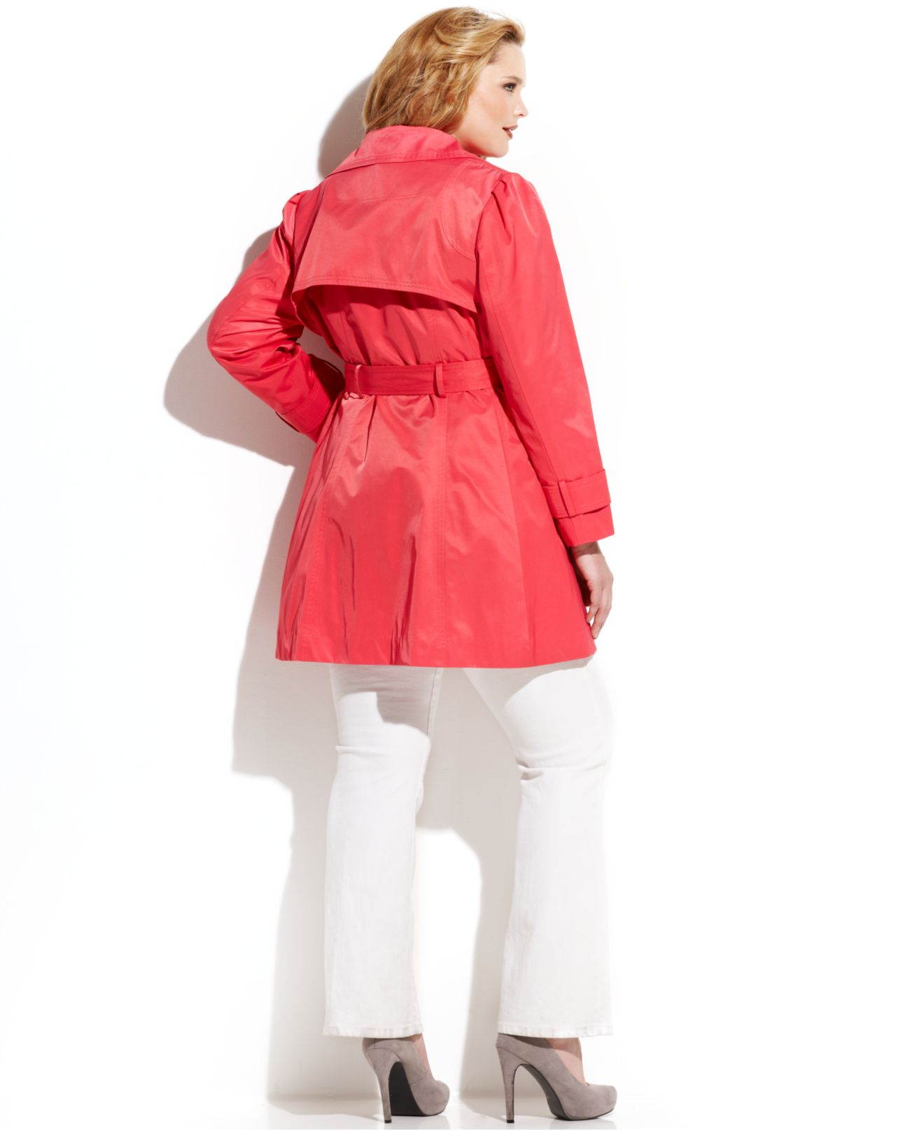 03867e8cf47 Lyst - Jessica Simpson Plus Size Ruffle-Trim Belted Trench Coat in Red