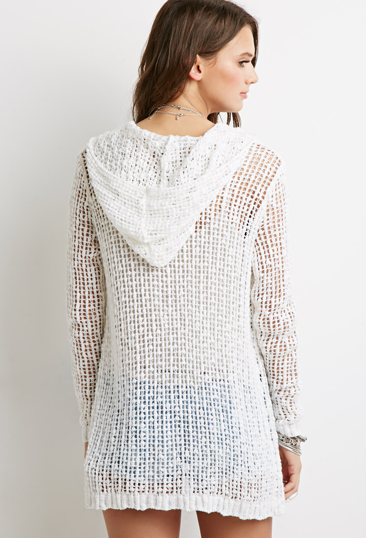 Forever 21 Open-knit Hooded Cardigan in White | Lyst