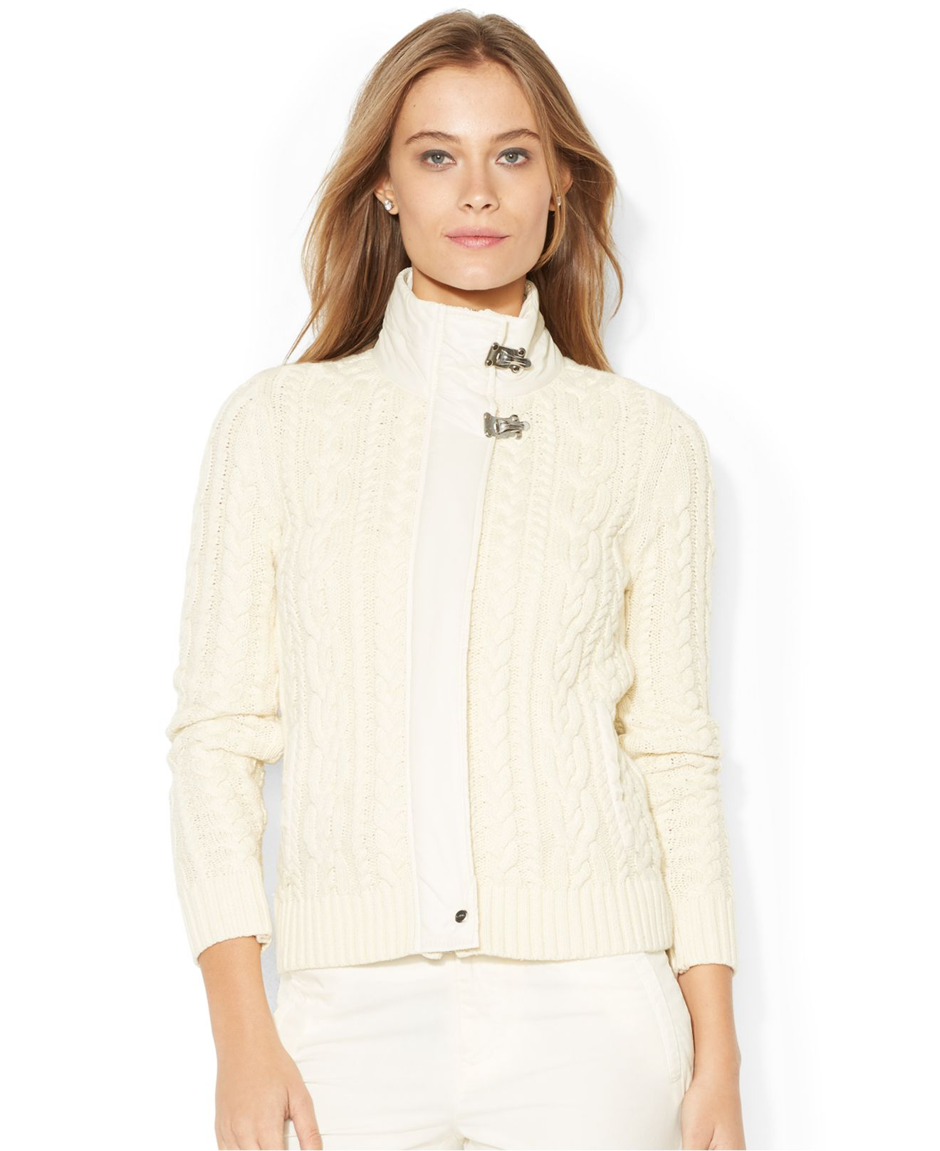 Lyst Lauren By Ralph Lauren Hardware Closure Cable Knit