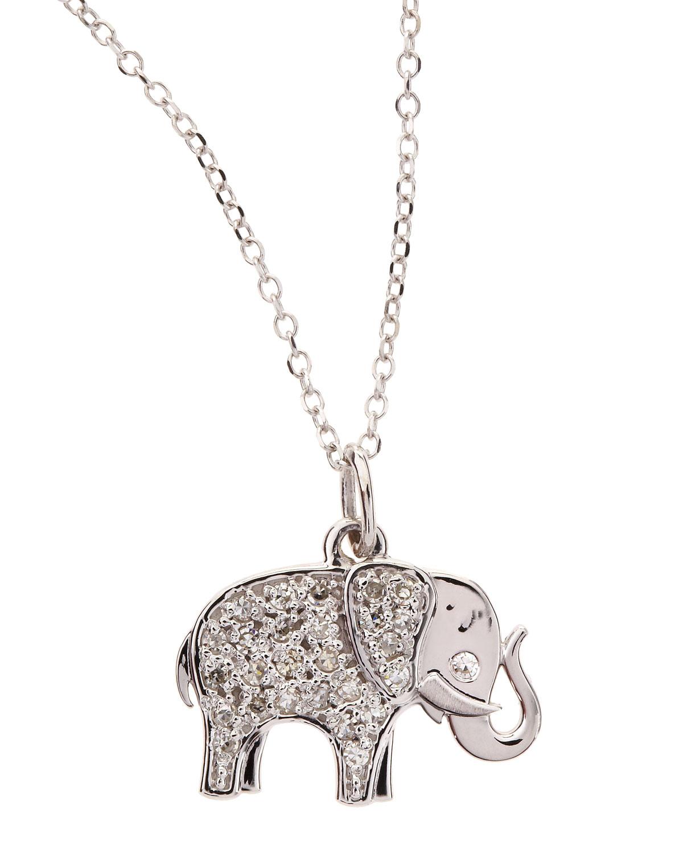 Lyst kc designs 14k white gold diamond elephant pendant necklace gallery aloadofball Images