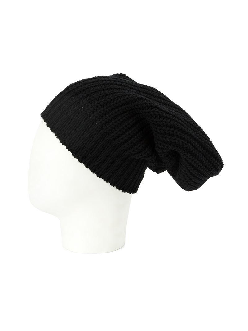 Lyst Rick Owens Slouchy Knit Beanie In Black