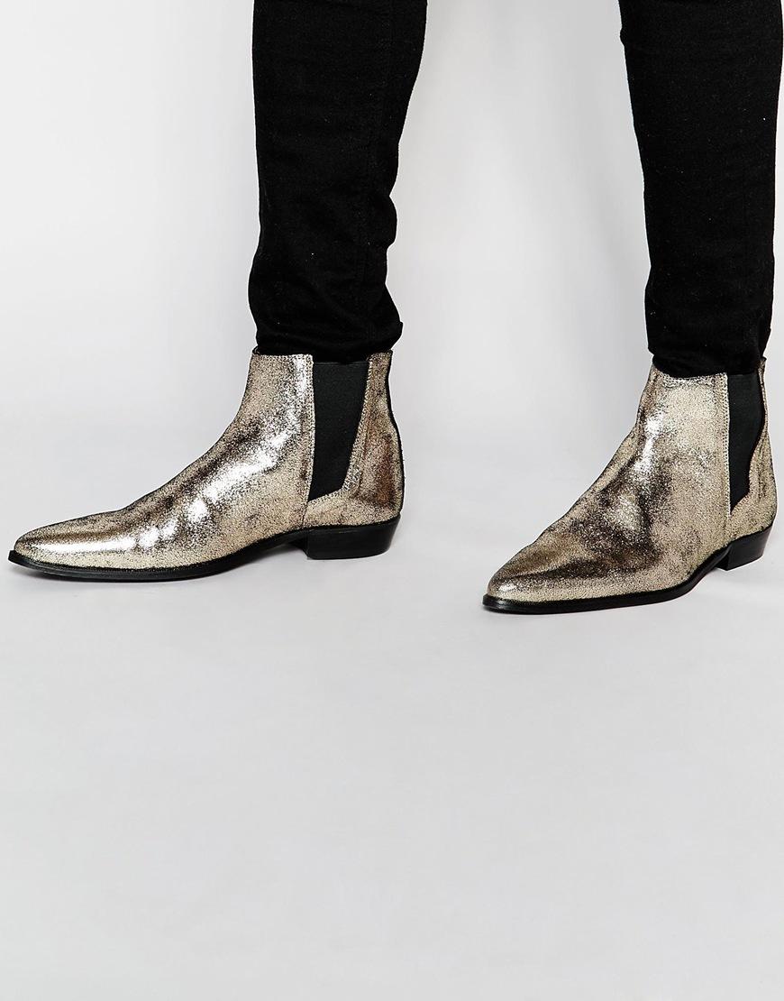 a48fc9ca697844 ASOS Chelsea Boots In Metallic Gold in Metallic for Men - Lyst