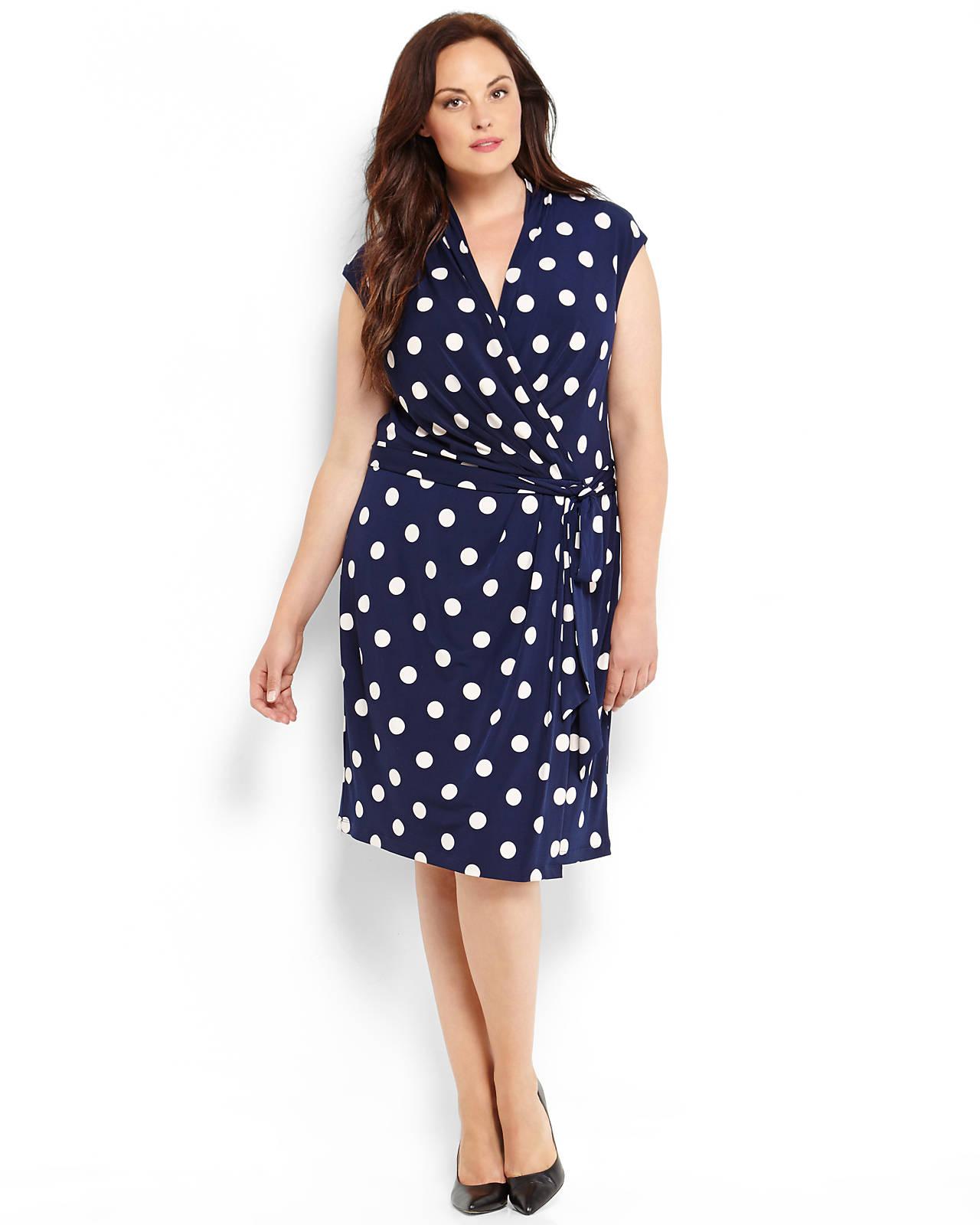 Eliza J Plus Size Polka Dot Jersey Dress In Blue Lyst