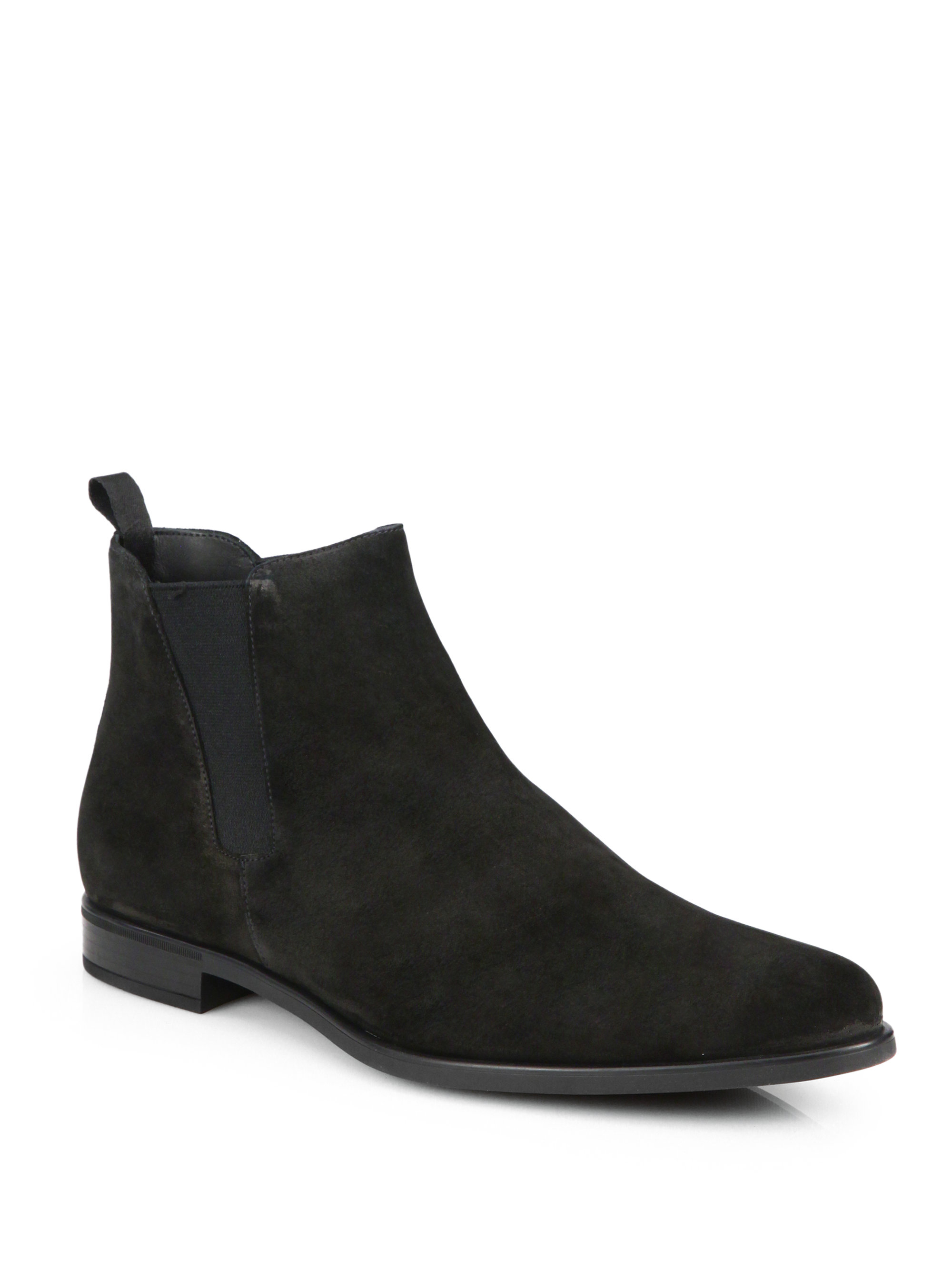 Prada Suede Chelsea Boots in Black for Men | Lyst