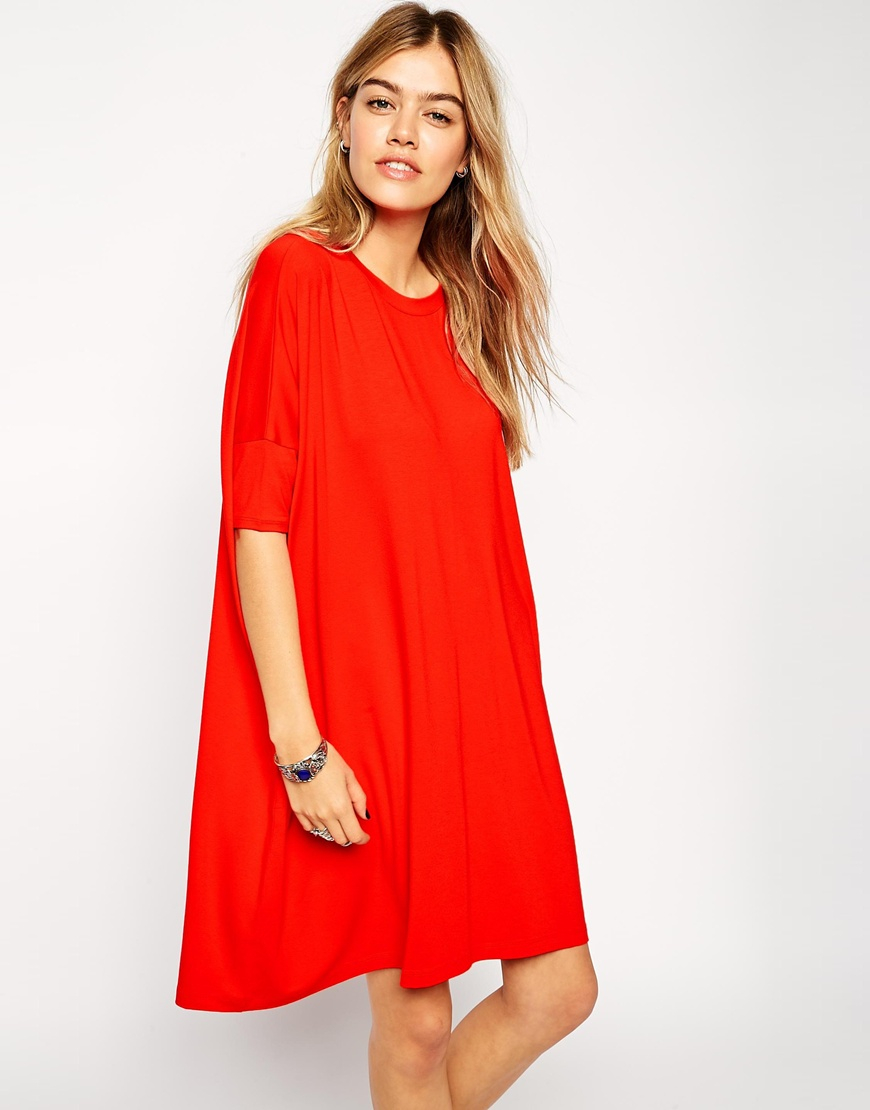 19807b346cb ASOS The T-shirt Dress With Short Sleeve in Red - Lyst