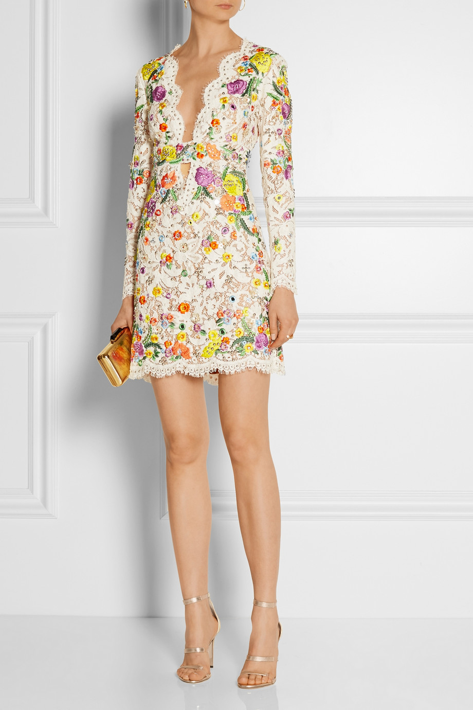 Emilio pucci floral embroidery embellished lace dress in