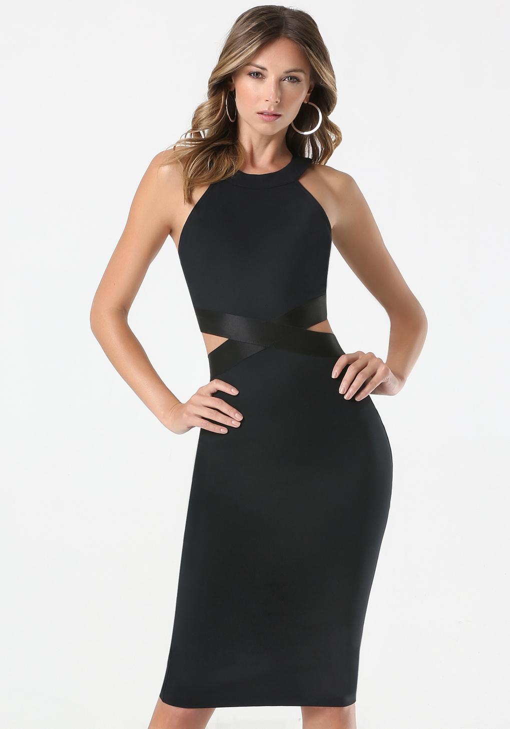 bebe cutout waist dress in black lyst. Black Bedroom Furniture Sets. Home Design Ideas