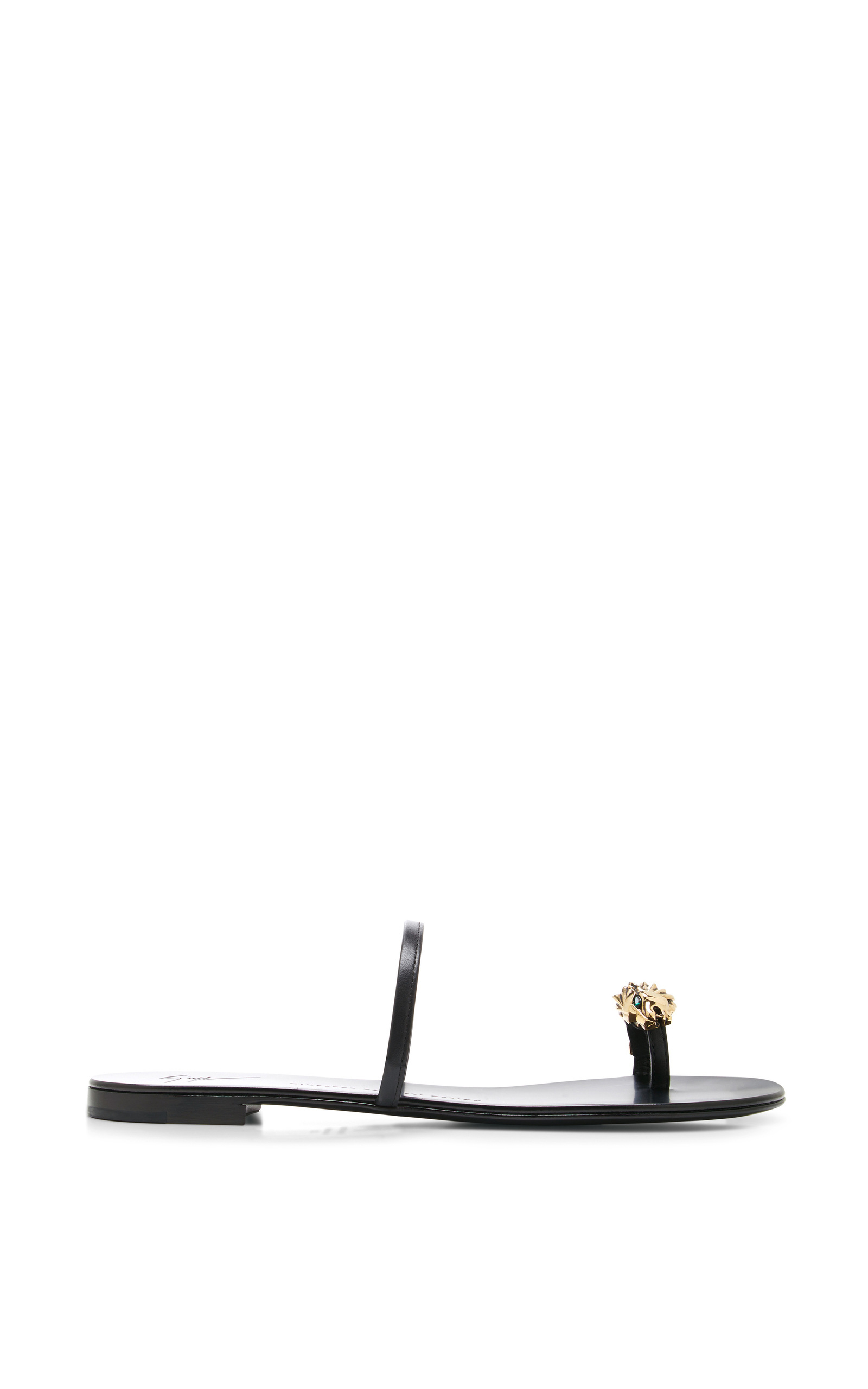 a66484ad4f3f6 Giuseppe Zanotti Rock Lion-Head Leather Sandals in Black - Lyst