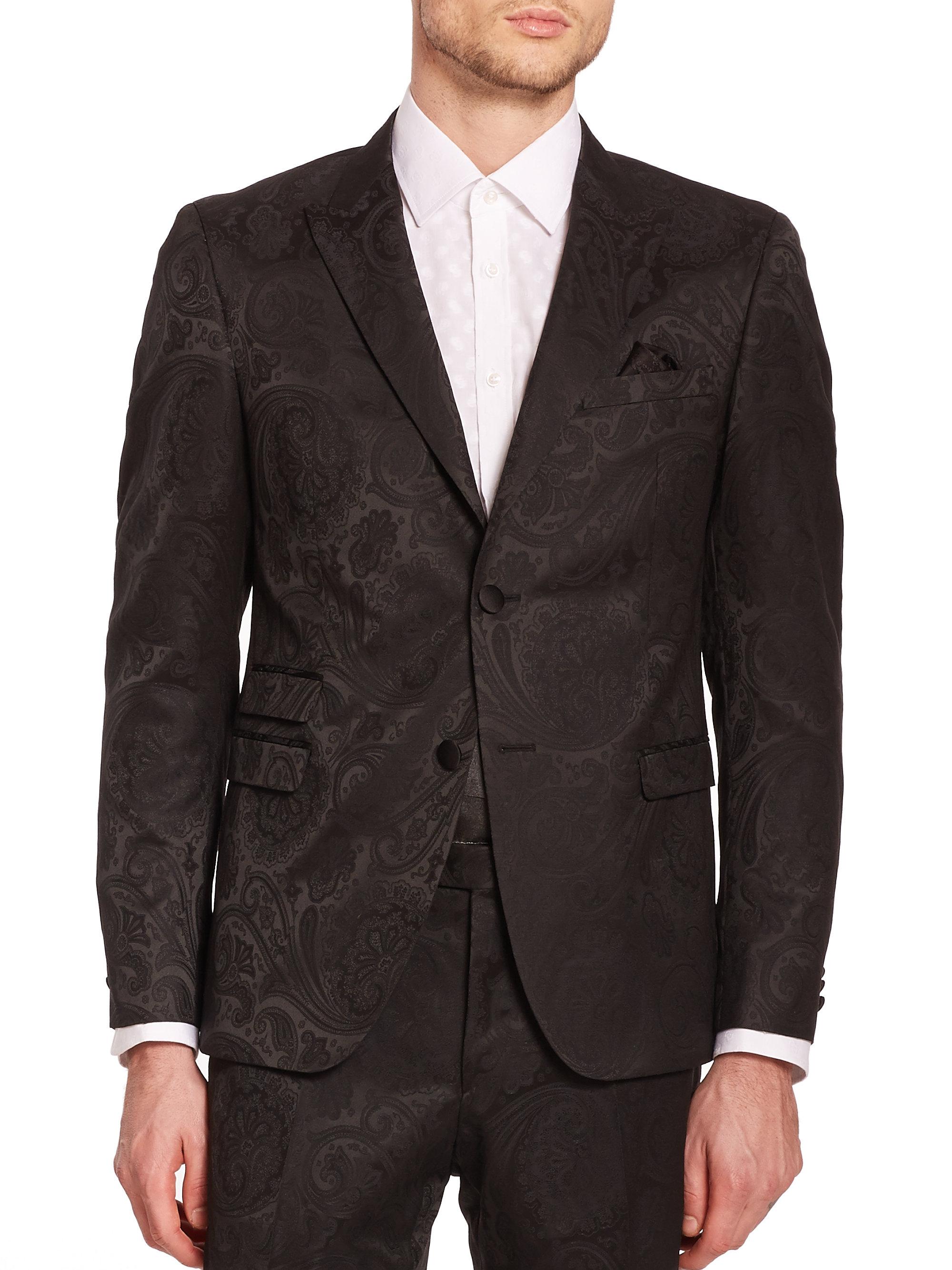 Lyst Sand Paisley Jacquard Dinner Jacket In Black For Men