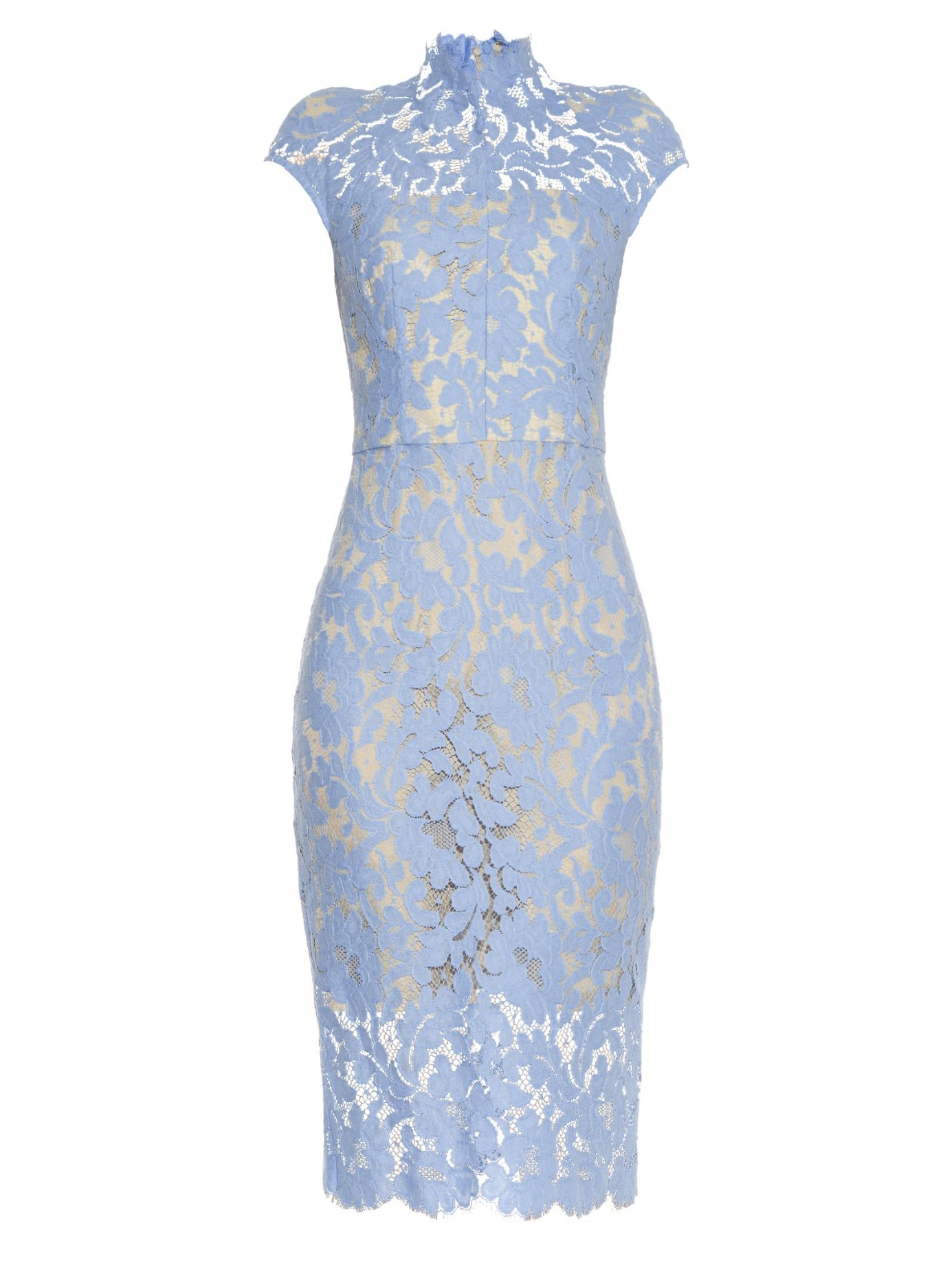 Lyst lover warrior french lace midi dress in blue for Light blue lace wedding dress
