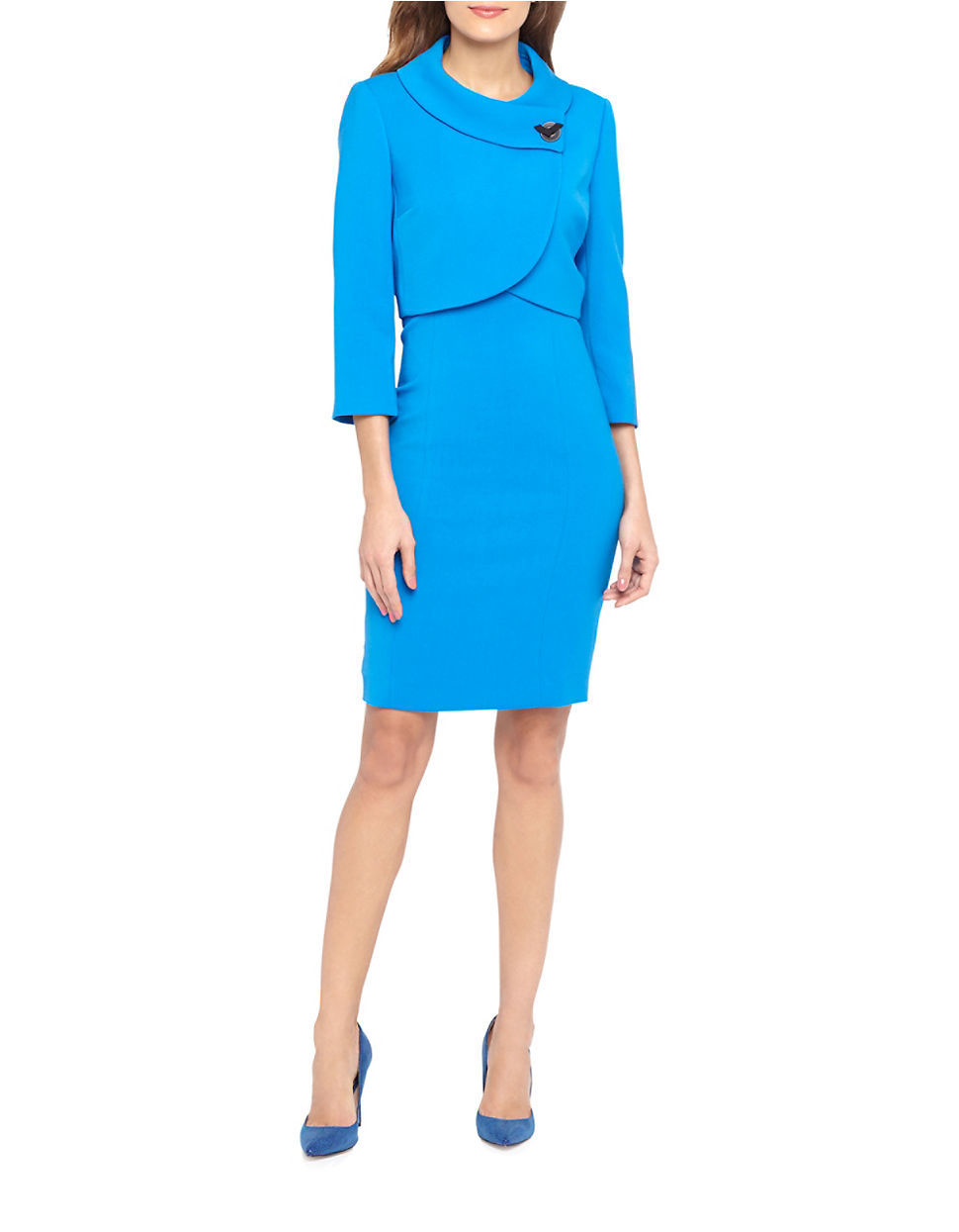 Tahari Two-piece Jacket And Dress Set in Blue | Lyst