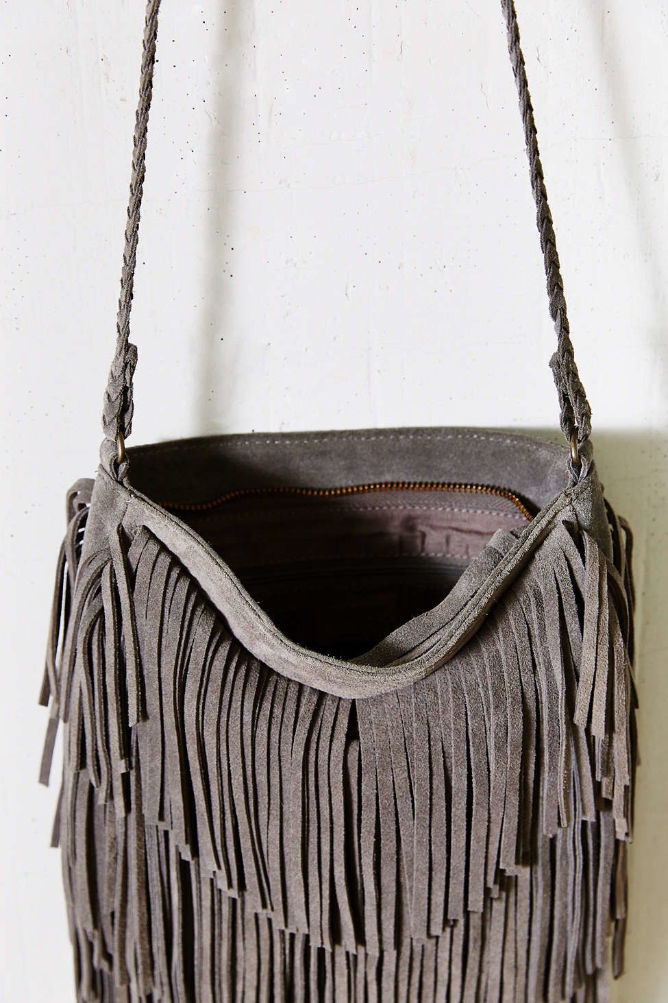 951c5bc14e Lyst - Ecote Suede Layered Fringe Crossbody Bag in Gray