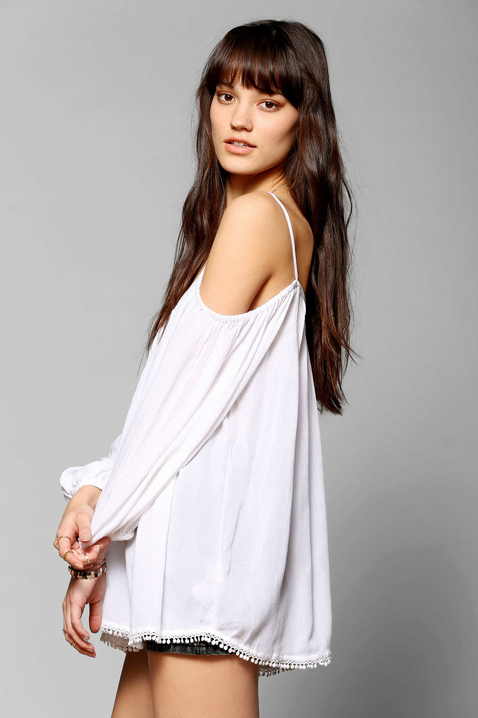 Ecote Daisy Bell-sleeve Top In White (IVORY)
