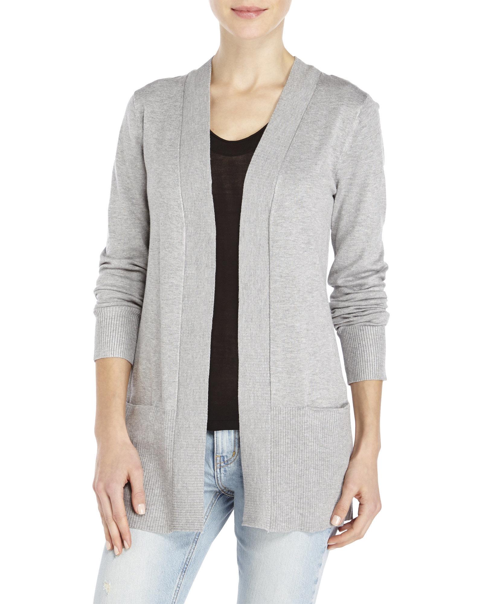 Premise studio Open-Front Knit Cardigan in Gray | Lyst