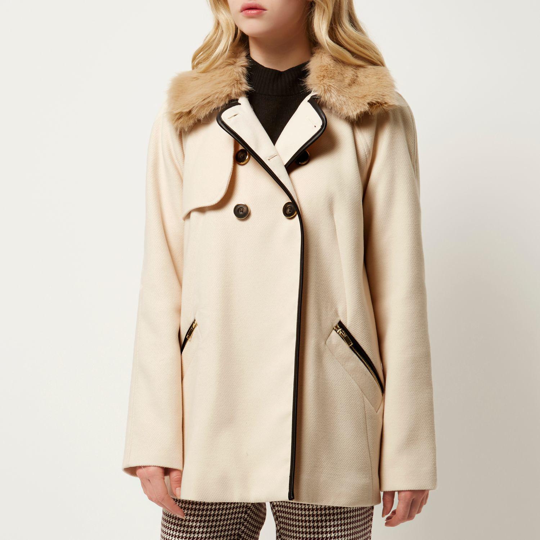 River island Cream 60s Faux Fur Collar Pea Coat in Natural   Lyst