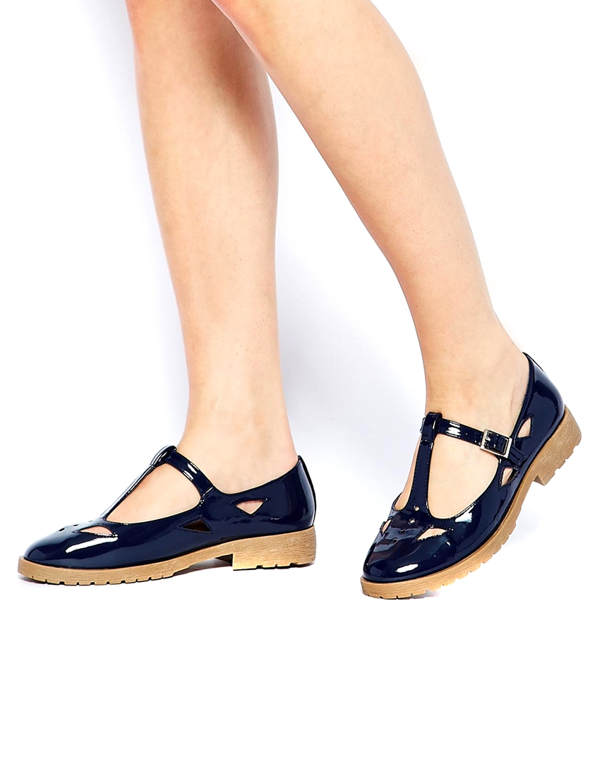 245b86af2e03 Lyst - ASOS Molly Tbar Flat Shoes in Blue