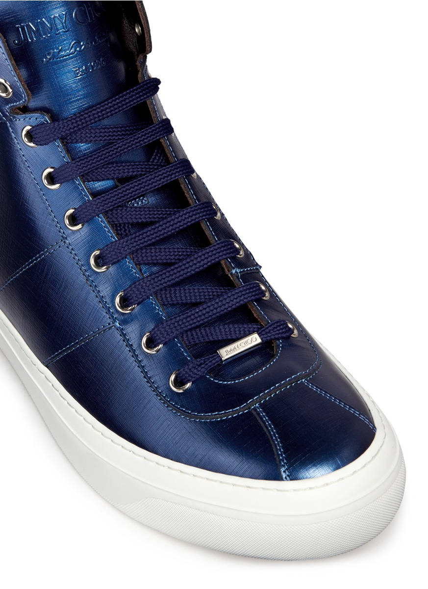 63fc72c7f17a ... cheap mens jimmy choo belgravia metallic leather high top sneaker f8fa4  8cb34