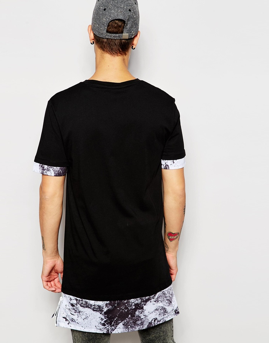 Asos Super Longline T-shirt With Marble Print Hem Extender And ...