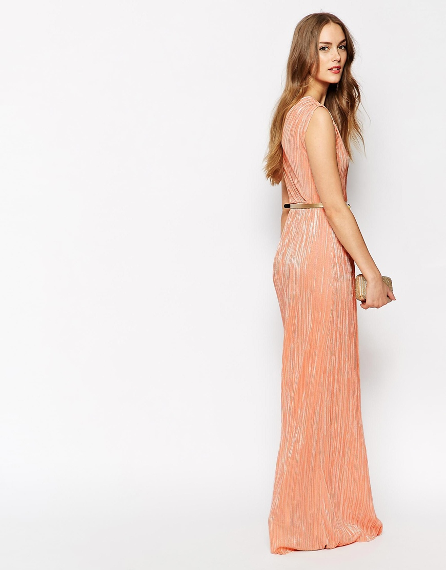 Lyst Oh My Love Belted Maxi Dress With Pleat Skirt In Orange