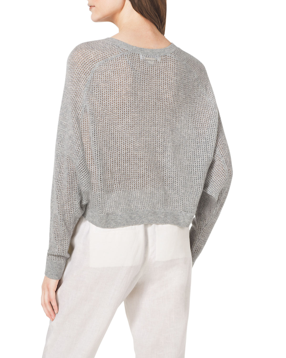 Michael michael kors Cropped Waffle-Knit Cashmere Sweater in Gray ...