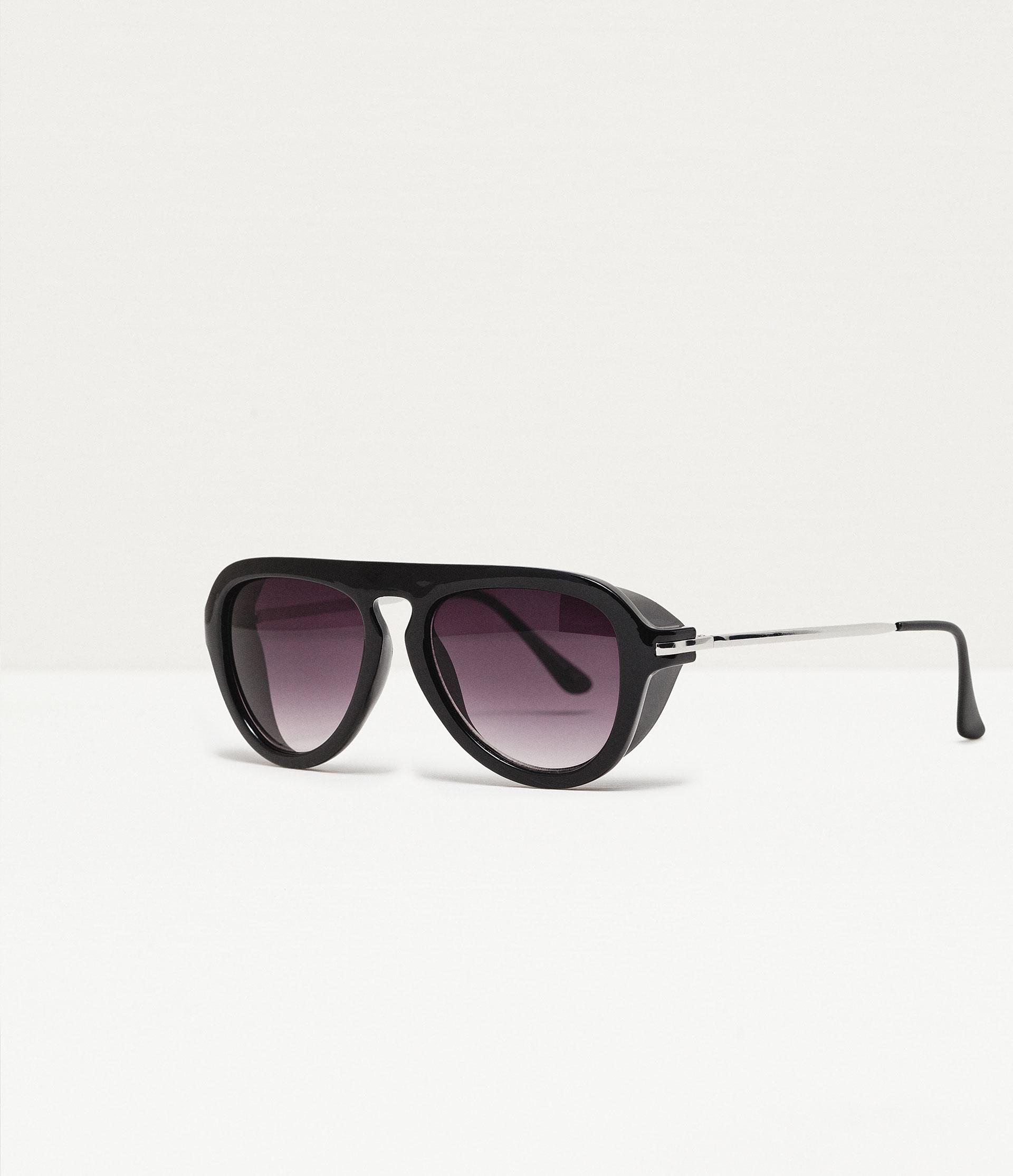 Zara Glasses Frames : Zara Thick Frame Oval Sunglasses in Black for Men Lyst
