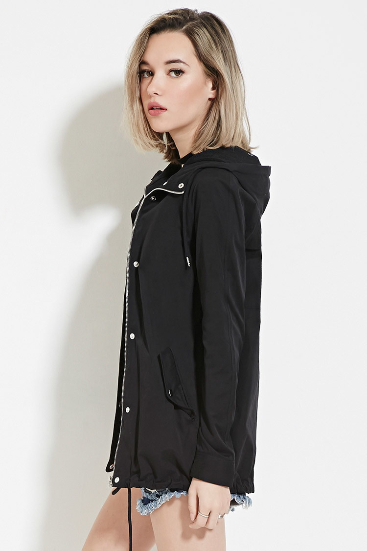 ce457e81c7d Lyst - Forever 21 Hooded Zip-up Jacket in Black