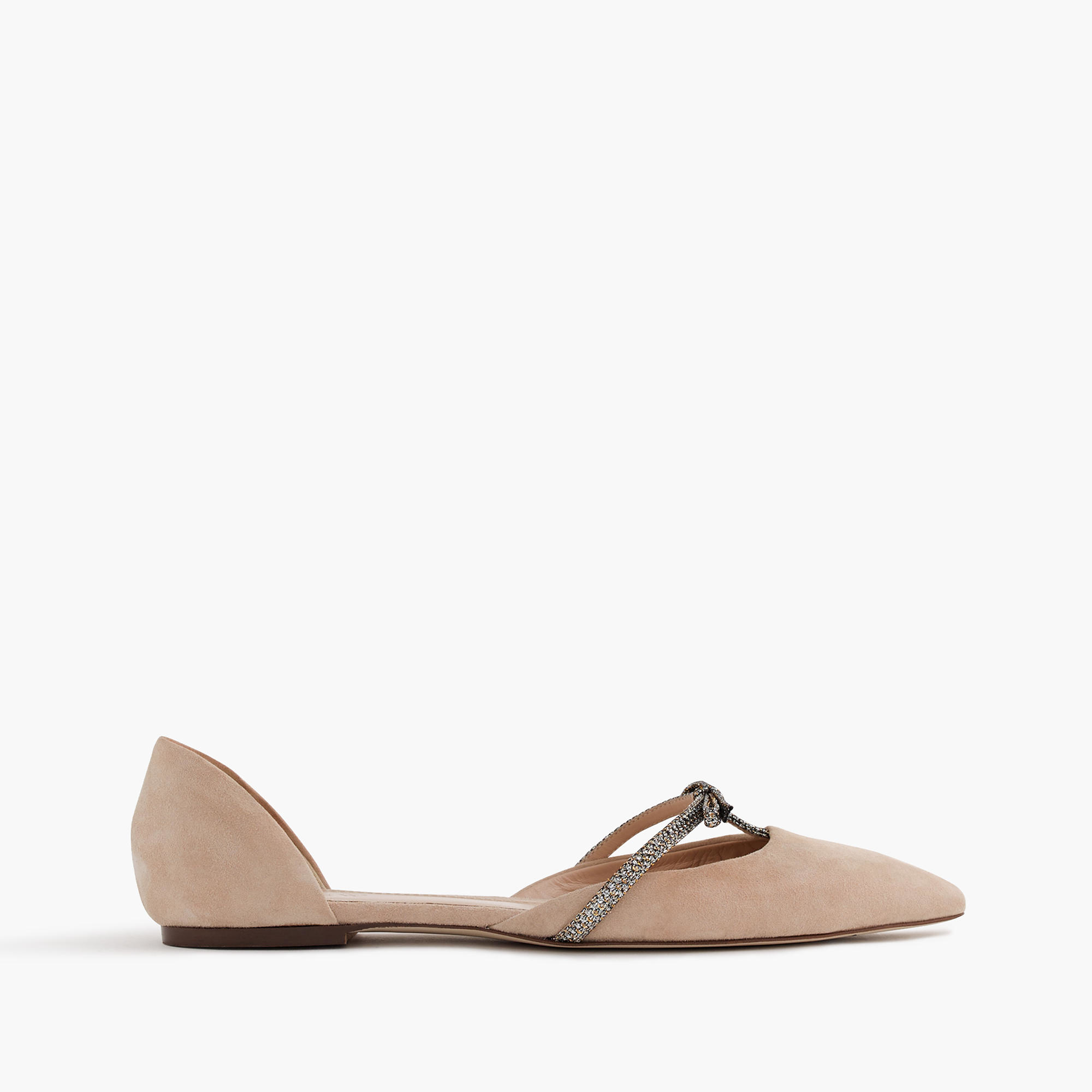 1705caef17d636 Lyst - J.Crew Sloan Suede D orsay Flats With Mini Bow in Natural