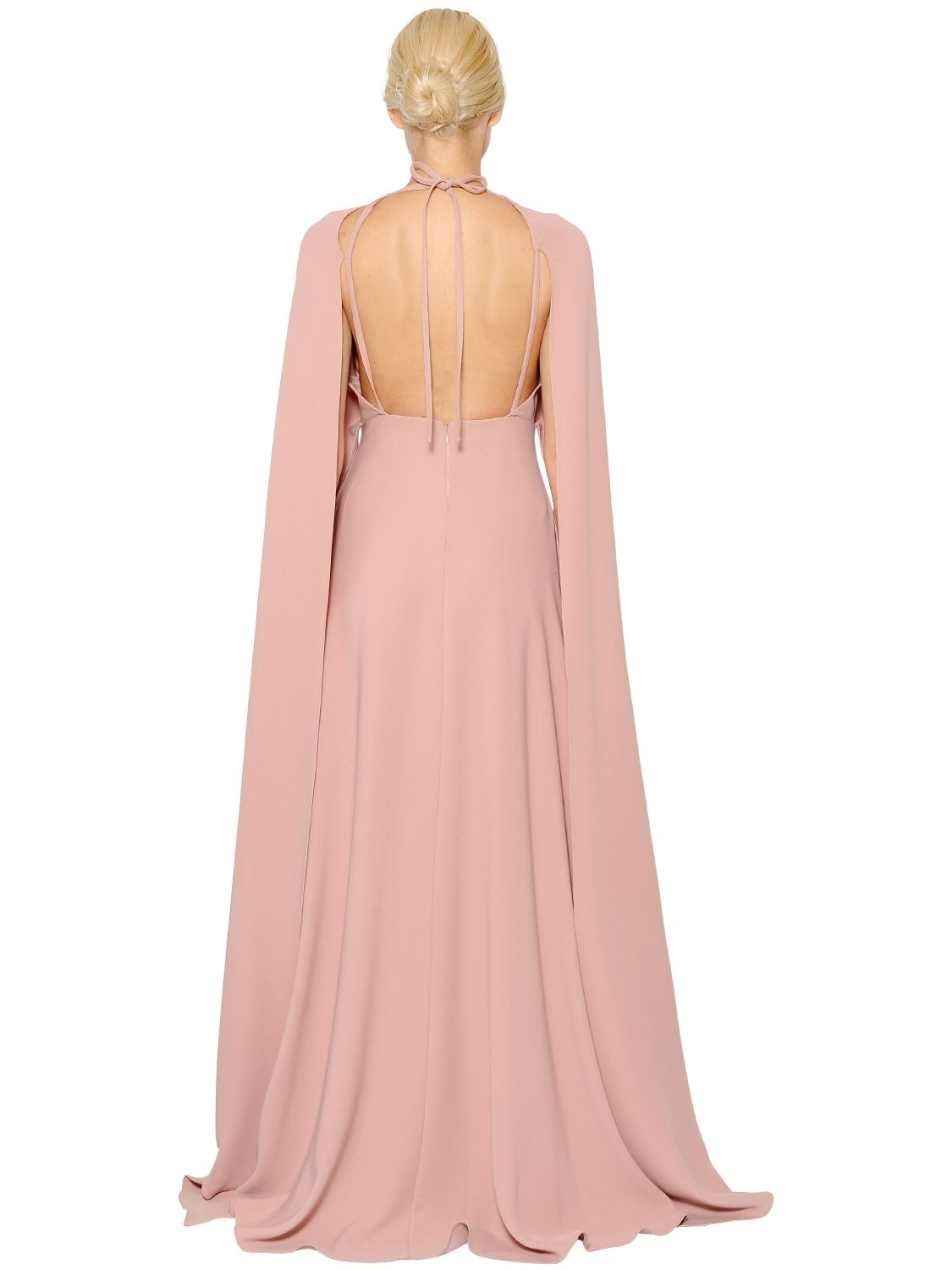 Lyst - Valentino Open Back Silk Cady Cape Dress in Pink