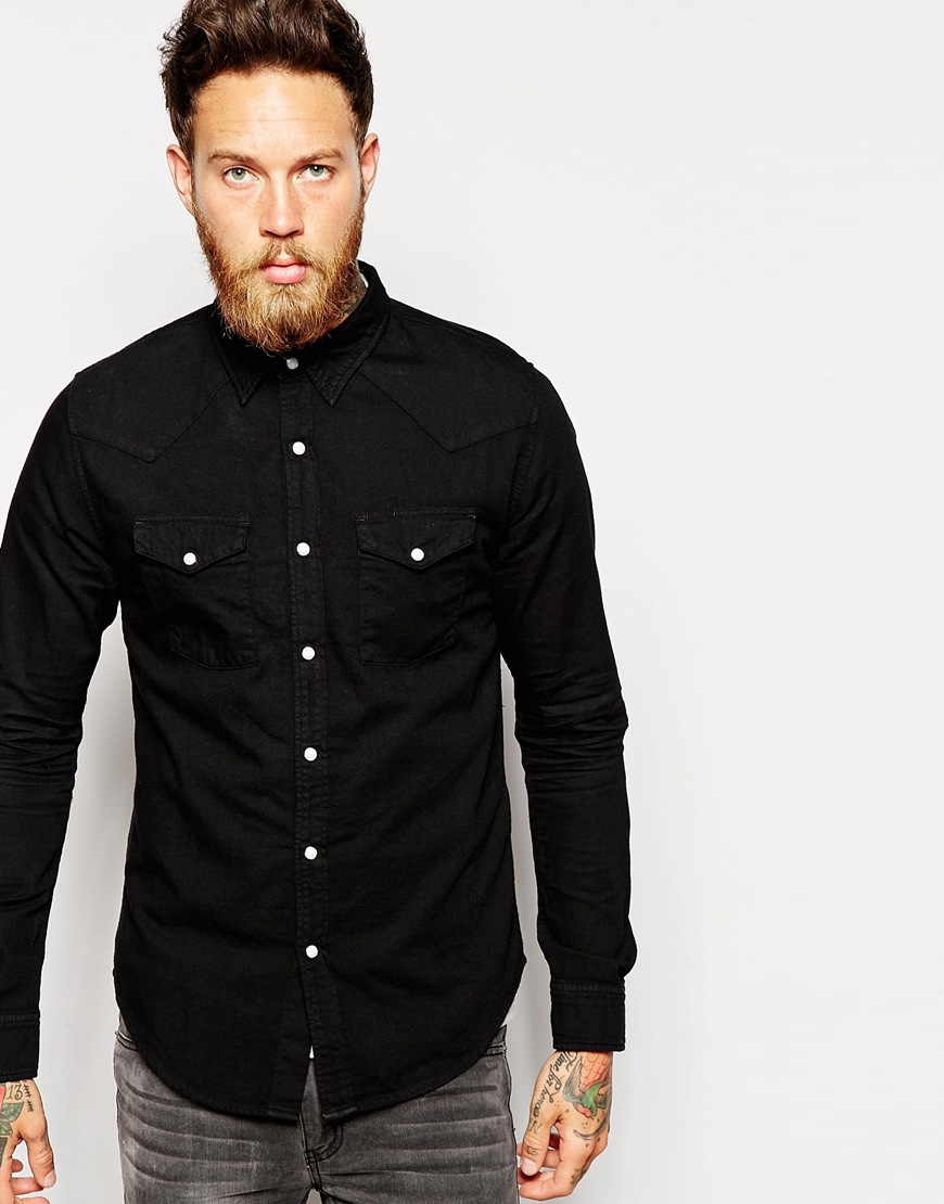 Edwin denim shirt memphis surf blue black overdyed in Black shirt blue jeans