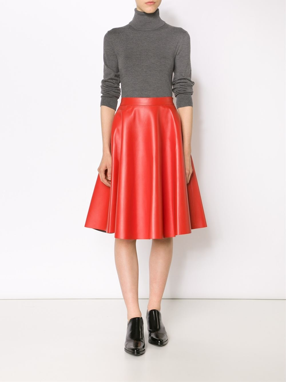 Msgm Faux Leather Skirt in Red | Lyst