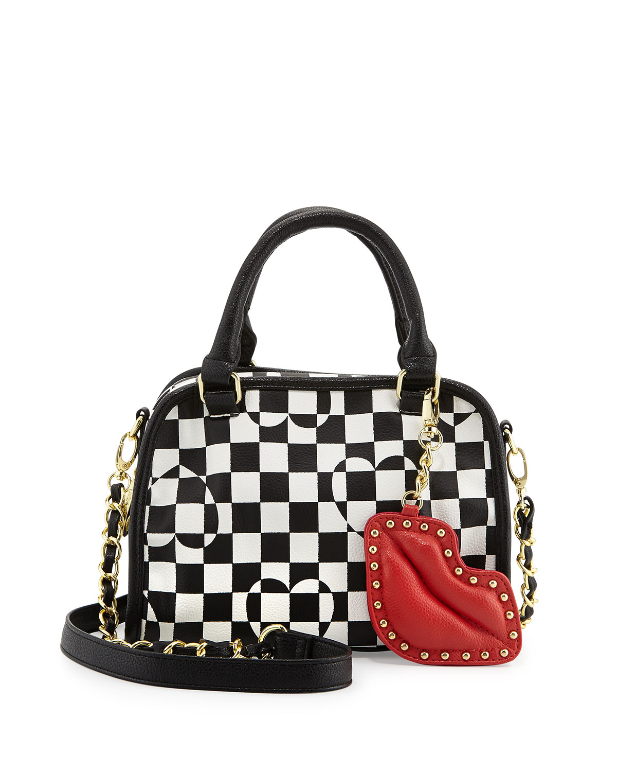 Betsey Johnson Pink Heart Checkerboard Satchel Bag Blackwhite Product Normal on Nine West Keychain