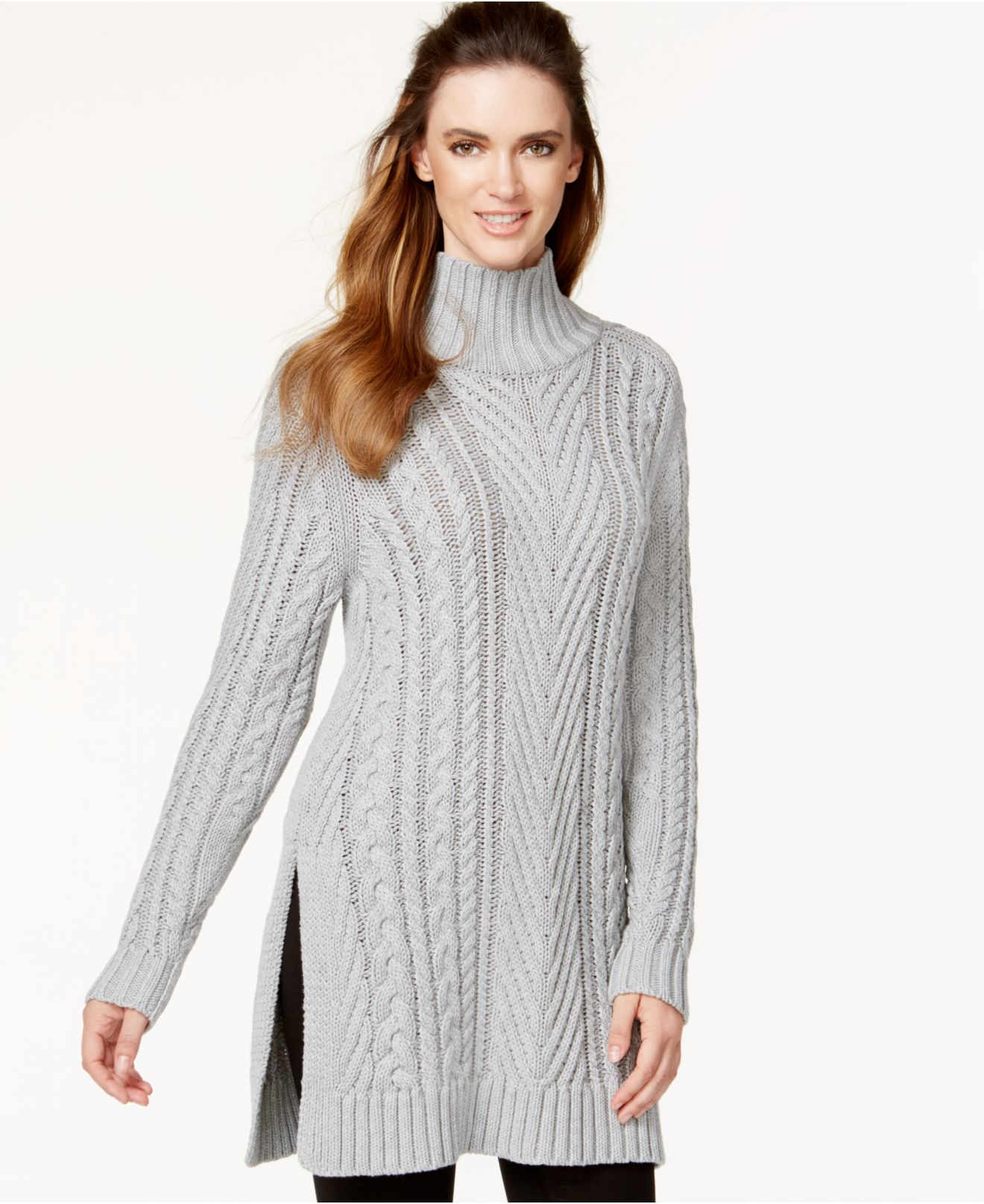 Vince camuto Mixed Cable-knit Tunic Sweater in Gray | Lyst