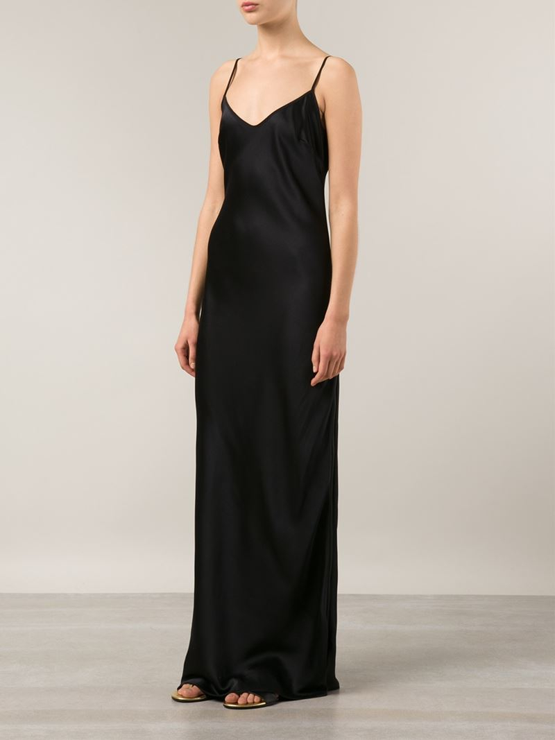 Valentina kova Long Silk Slip Dress in Black  Lyst