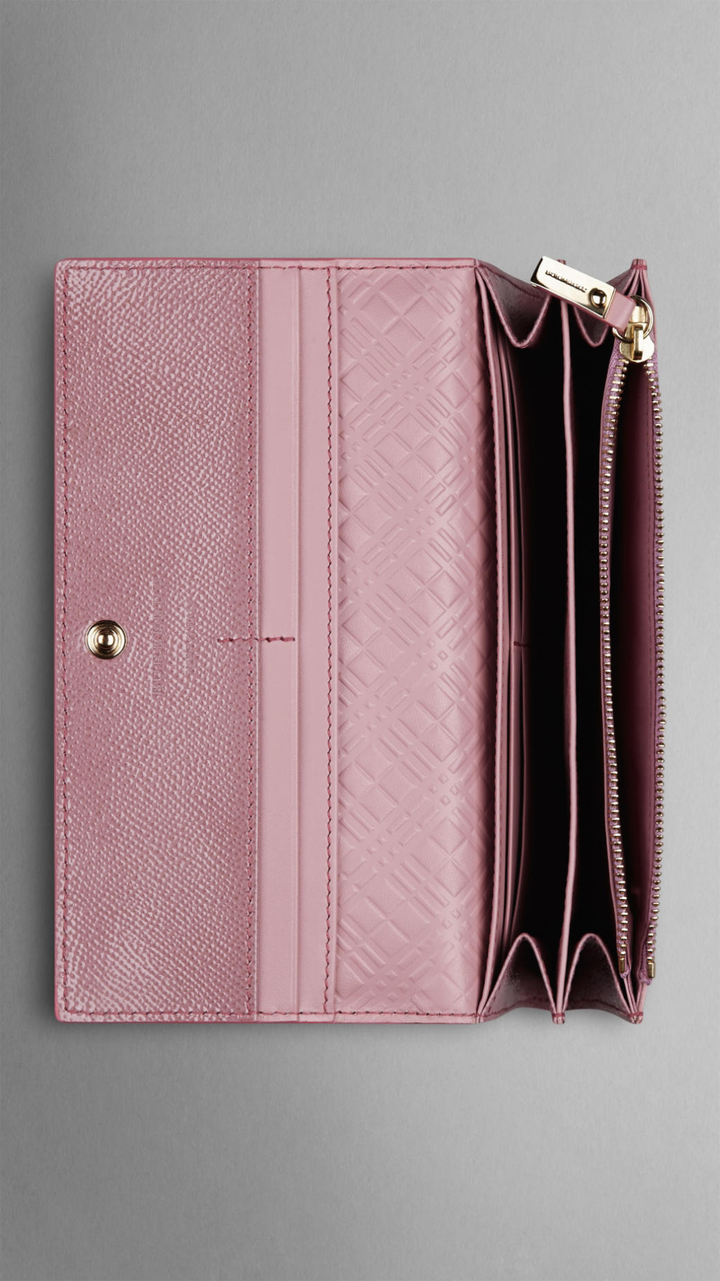 26235a931d95 Lyst - Burberry Patent London Leather Continental Wallet in Pink