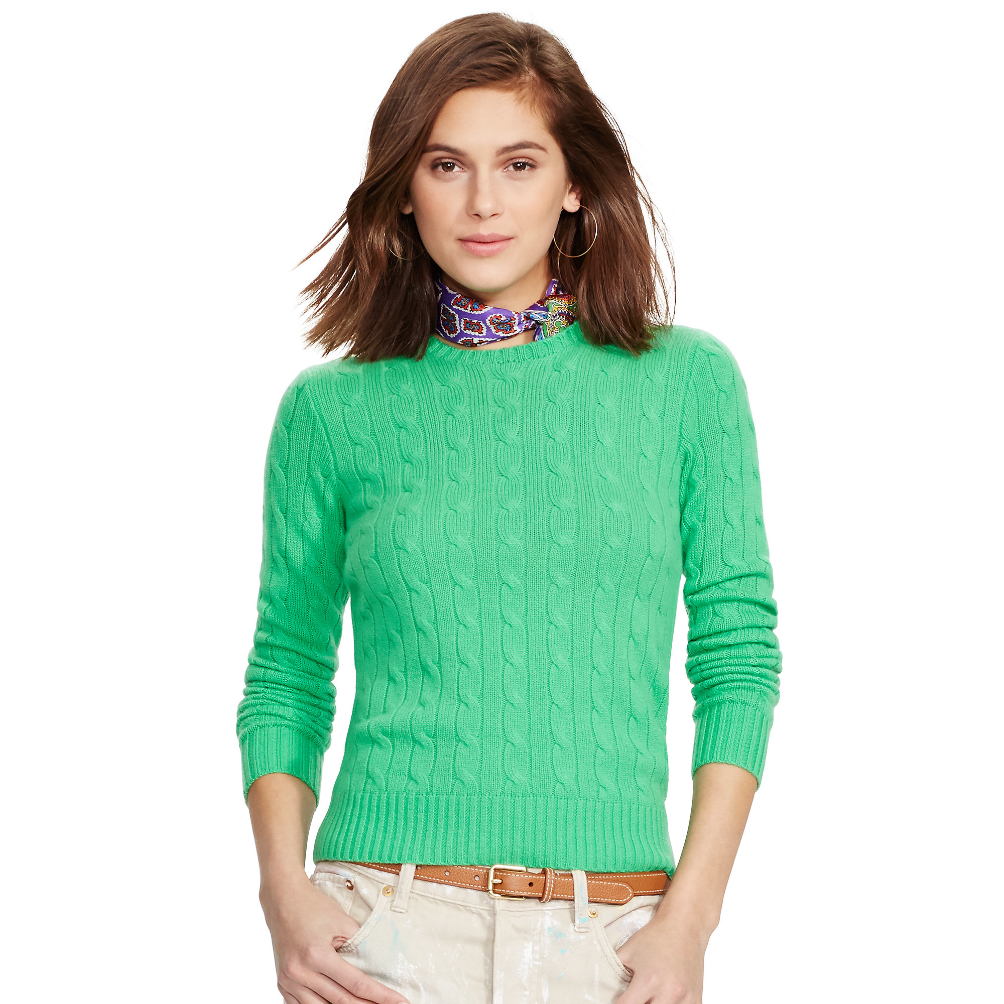 lauren womens cable cashmere sweater