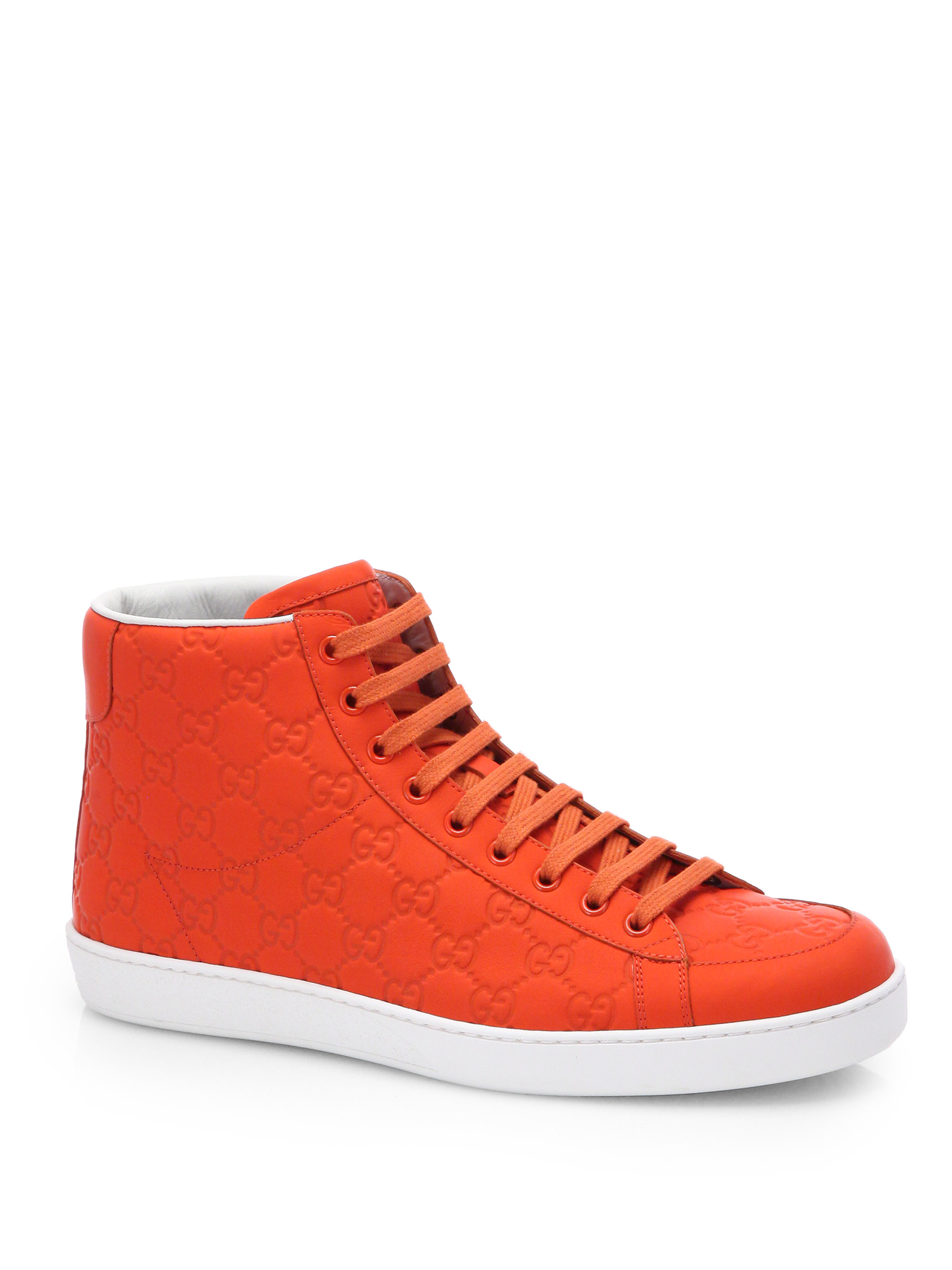 Lyst Gucci Rubberized Leather Gg Hightop Sneakers In
