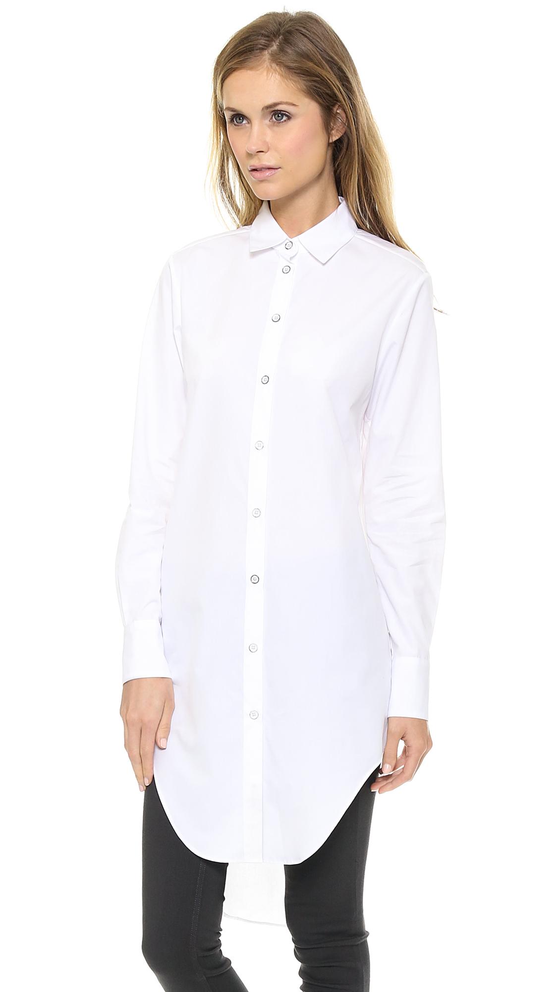 93a1f2fe2cc04a White Button Down Collar Womens Shirt