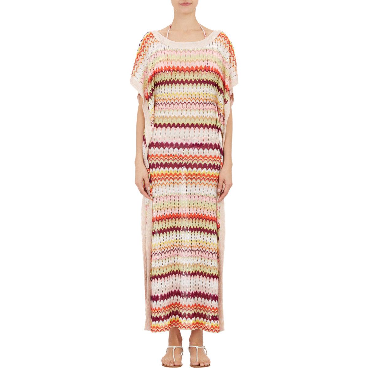 635814c8e34aa Missoni Women s Zigzag Knit Caftan in Pink - Lyst