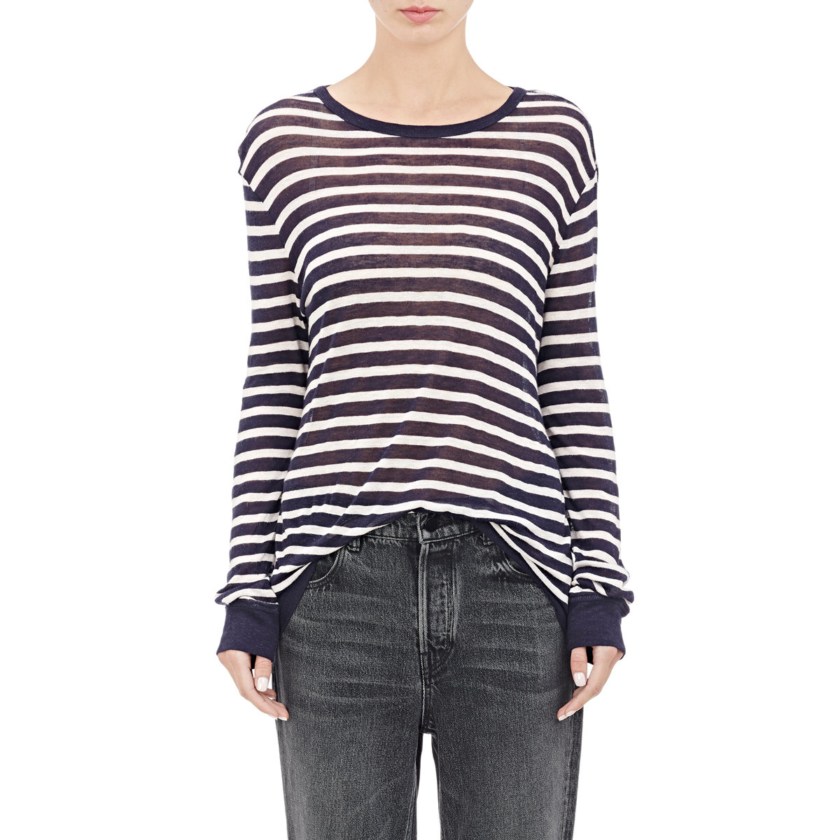 Lyst t by alexander wang striped long sleeve t shirt in blue Striped long sleeve t shirt