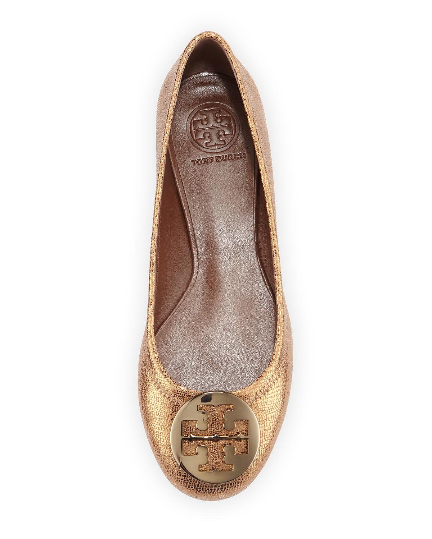 b4349b8da Lyst - Tory Burch Reva Metallic Leather Ballet Flat in Metallic