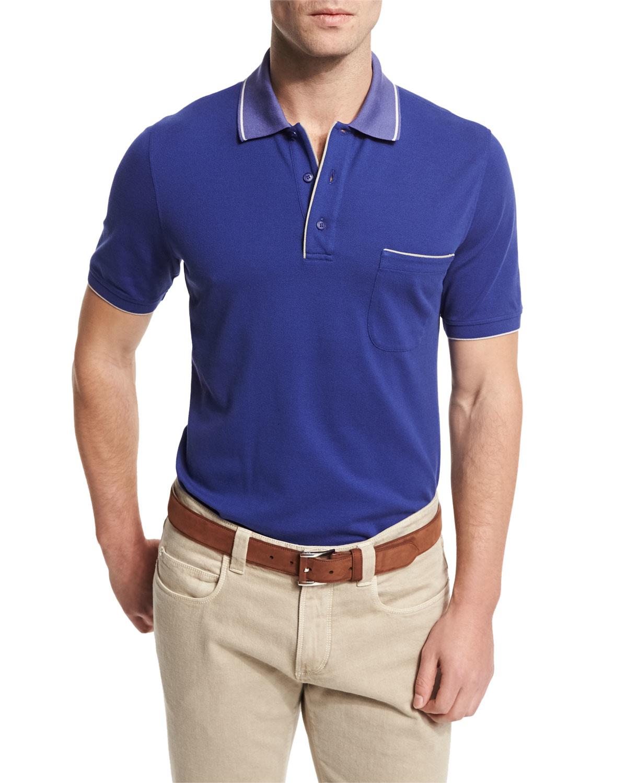 Loro piana Regatta Contrast-collar Polo Shirt in Blue for ...
