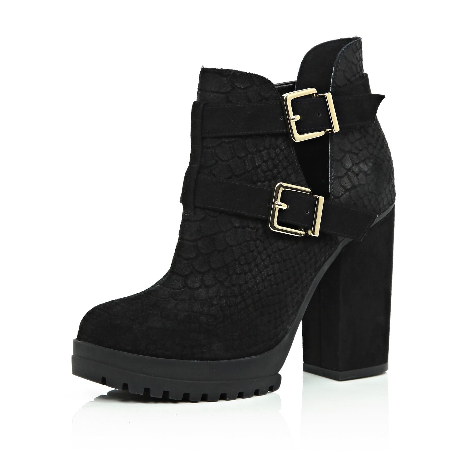 river island black suede cut out ankle boots in black lyst