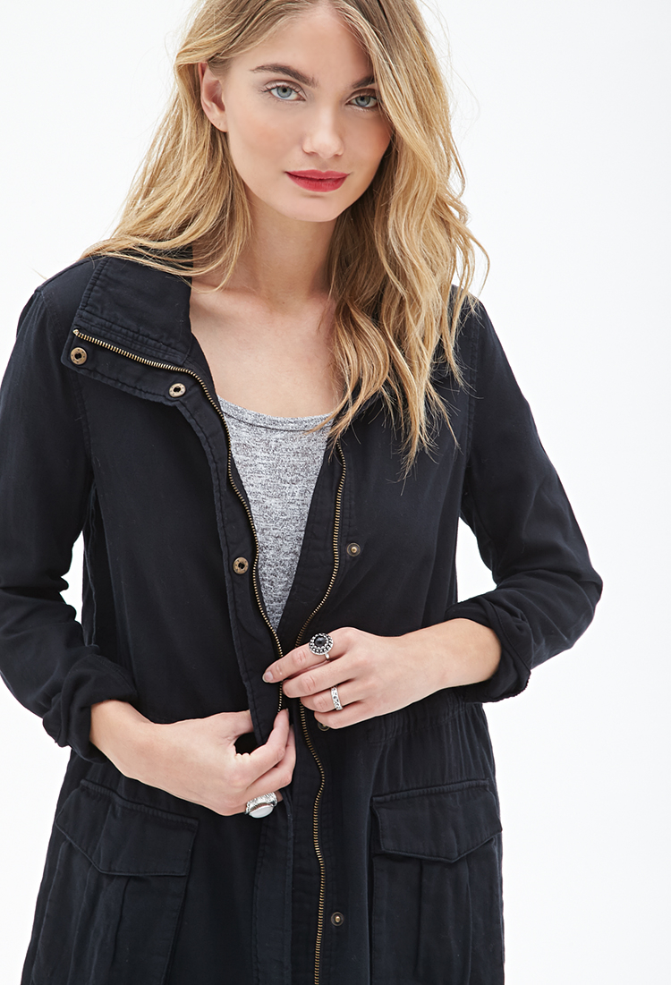 Forever 21 Contemporary Cotton Twill Funnel Neck Parka in Black | Lyst