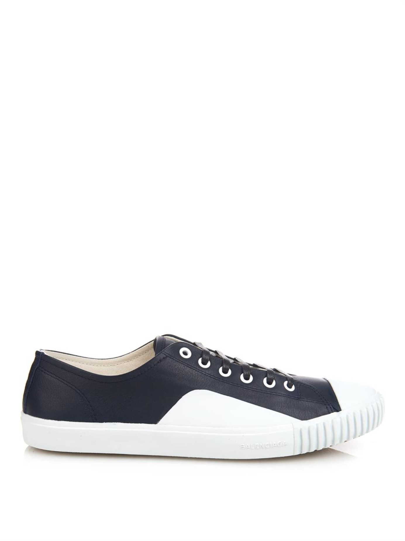 balenciaga young leather low top sneakers in blue for men lyst. Black Bedroom Furniture Sets. Home Design Ideas