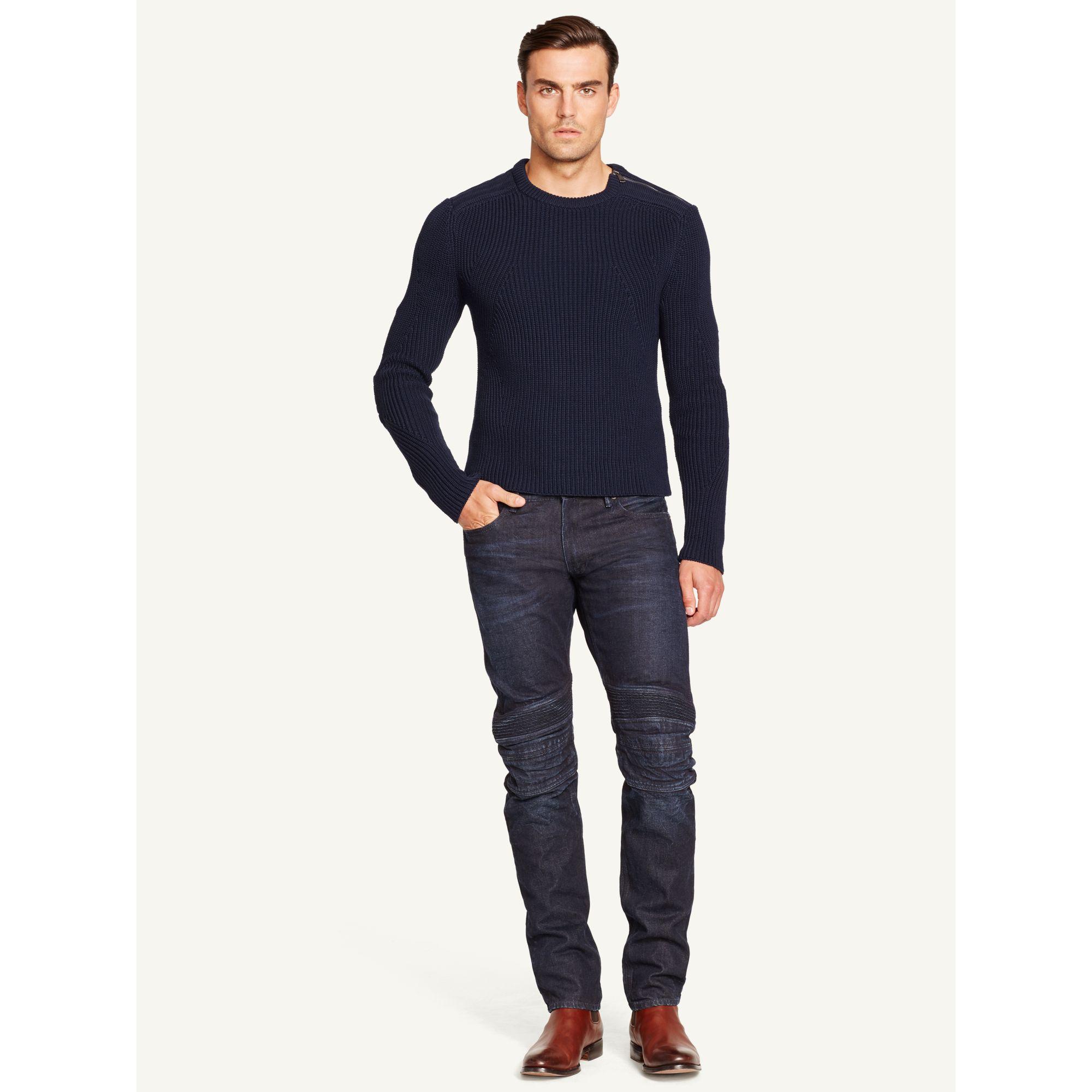 Ralph lauren black label Shoulder-Zip Sweater in Blue for Men (Aviator Navy) | Lyst